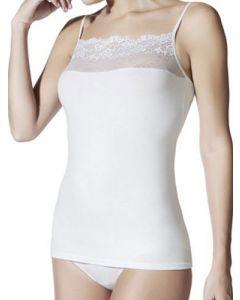 camiseta de algodón con encaje