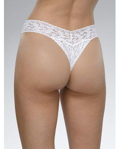 Tanga de encaje de  talle normal blanca