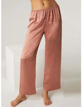pantalon de seda rosa